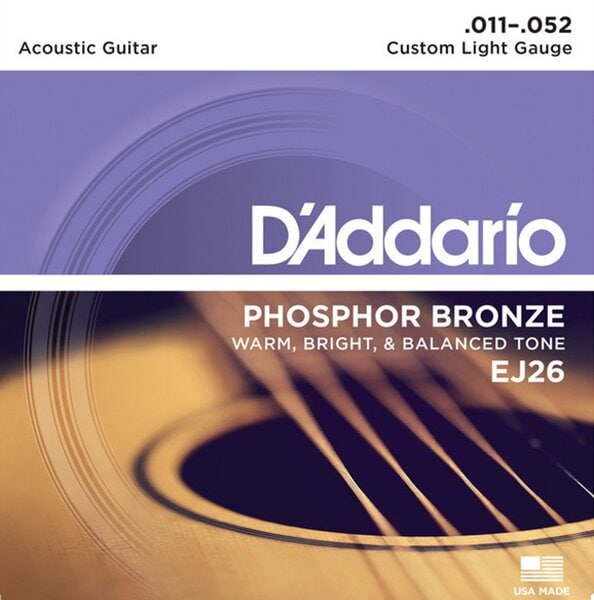 D'Addario EJ26 - Phosphor Bronze, Custom Light, 11-52