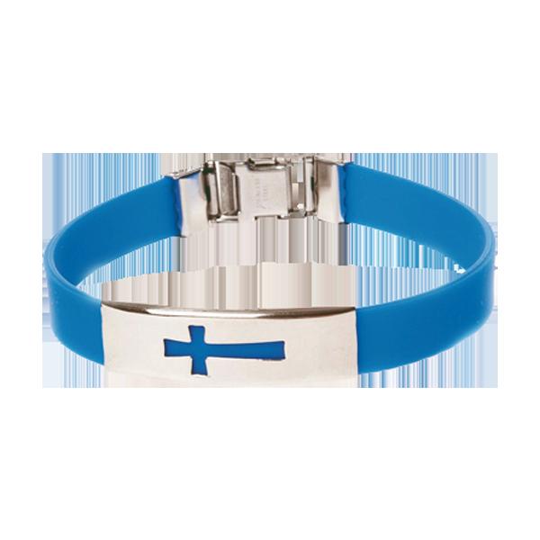 Armband - Silikon - Kors - Blå
