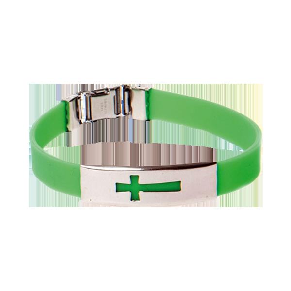 Armband - Silikon - Kors - Grön