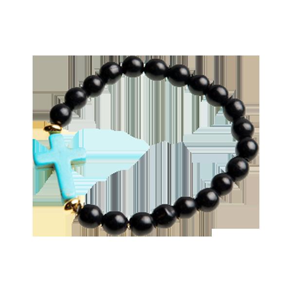 Armband - Kula - svart/turkos