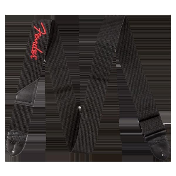 Fender Black Polyester Logo Strap - Tyg, sydd röd logga