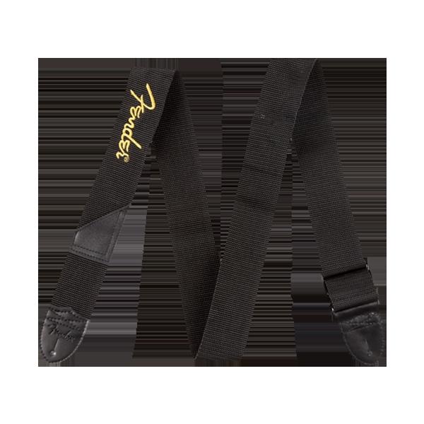 Fender Black Polyester Logo Strap - Tyg, sydd gul logga