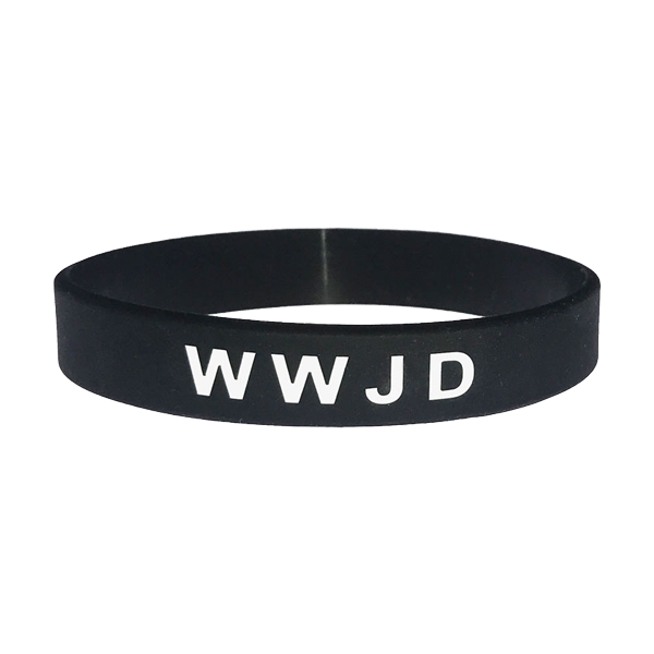 Armband - Silikon - WWJD - Svart