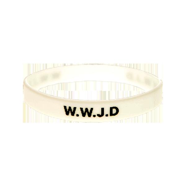Armband - Silikon - WWJD - Vit