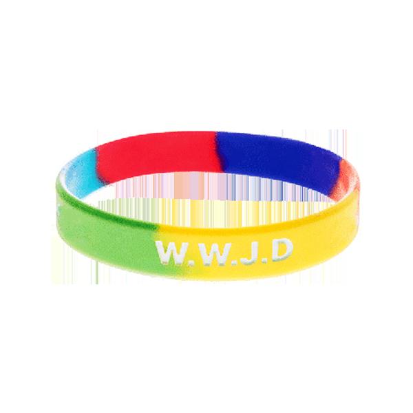 Armband - Silikon - WWJD - Regnbåge
