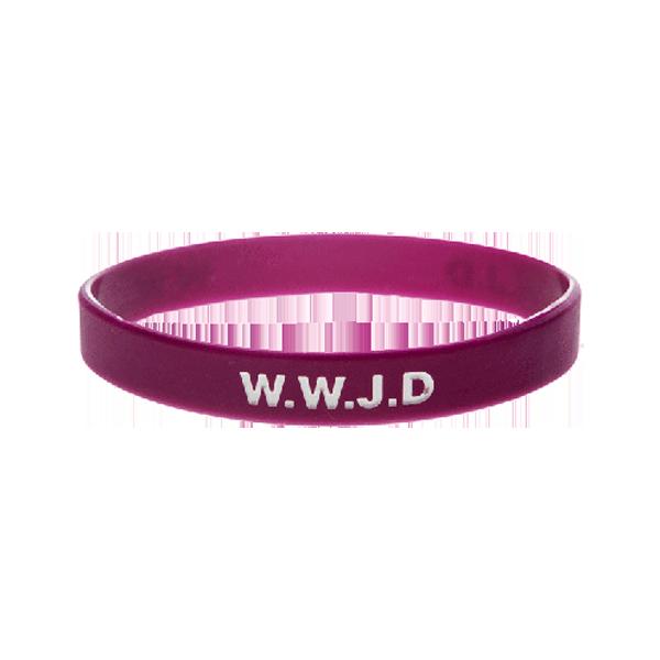 Armband - Silikon - WWJD - Plommon