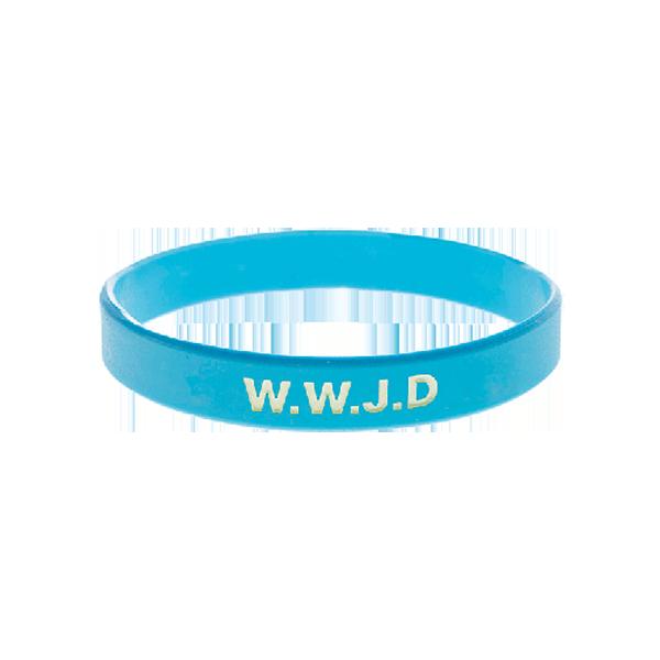 Armband - Silikon - WWJD - Ljusblå