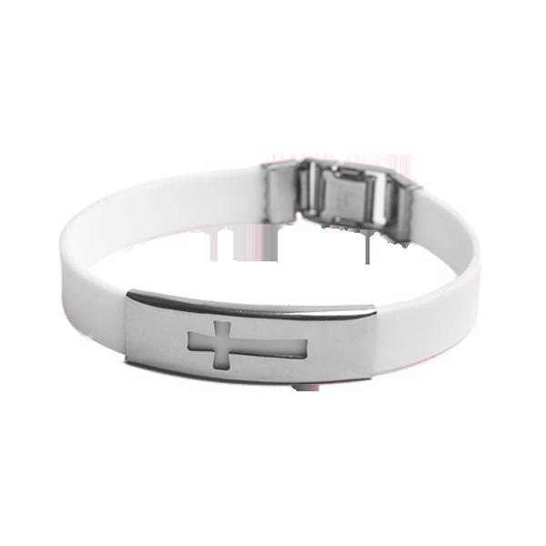 Armband - Silikon - Kors - Vit