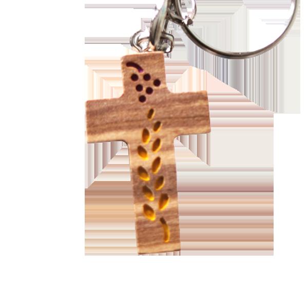 Nyckelring - Kors - Tillverkad i olivträ - Vinranka/druvor