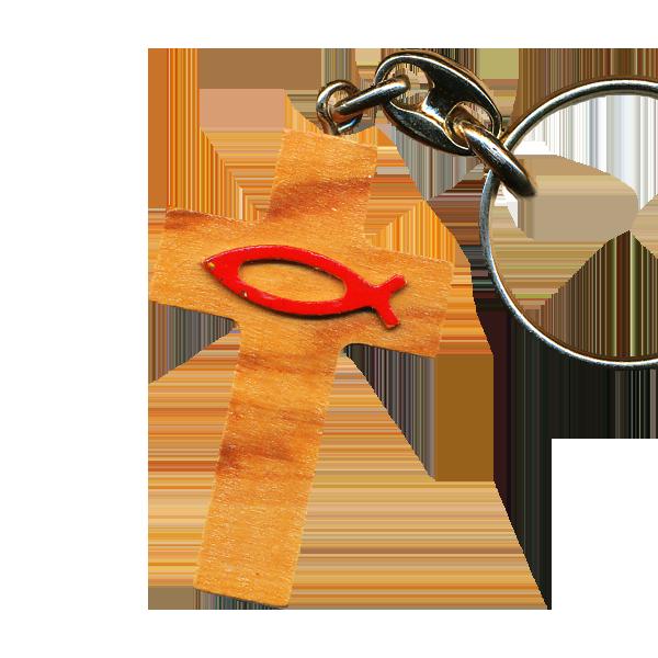 Nyckelring - Kors -Tillverkad i olivträ - Fisktecknet i rött