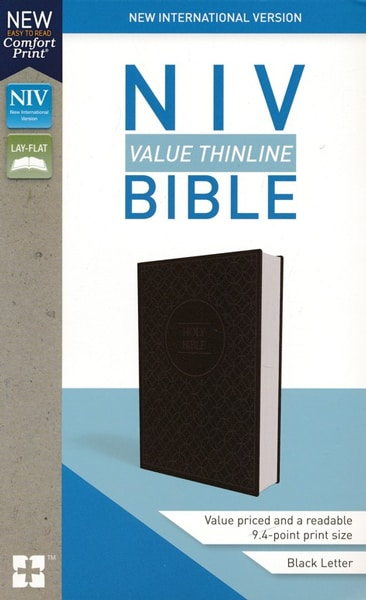 NIV Thinline Bible - Gråsvart