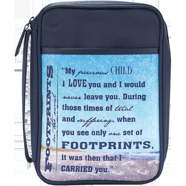 Bibelfodral - Slimline - Blå - Footprints - Microfiber