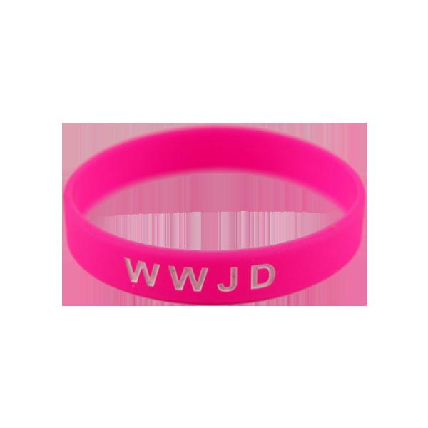 Armband - Silikon - WWJD - Starkrosa