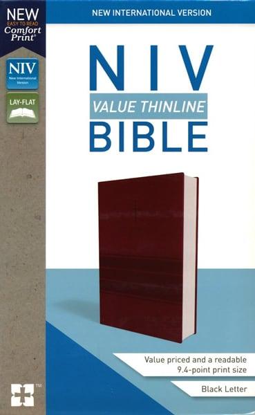 NIV Thinline Bible - Vinröd