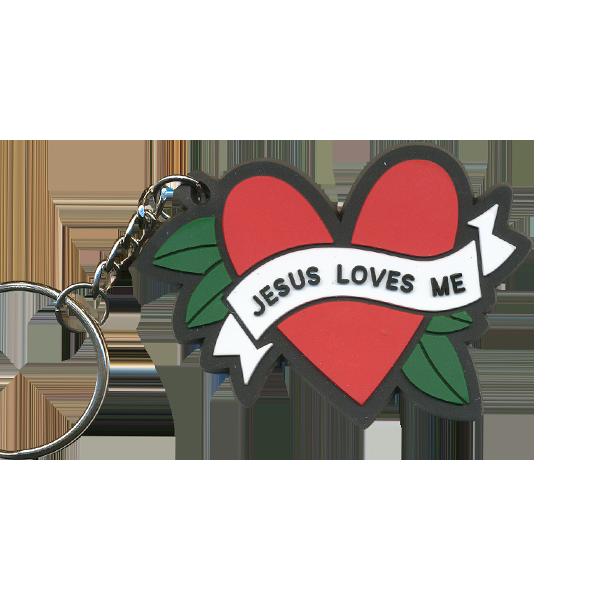 Nyckelring i mjuk silikon - Jesus loves me