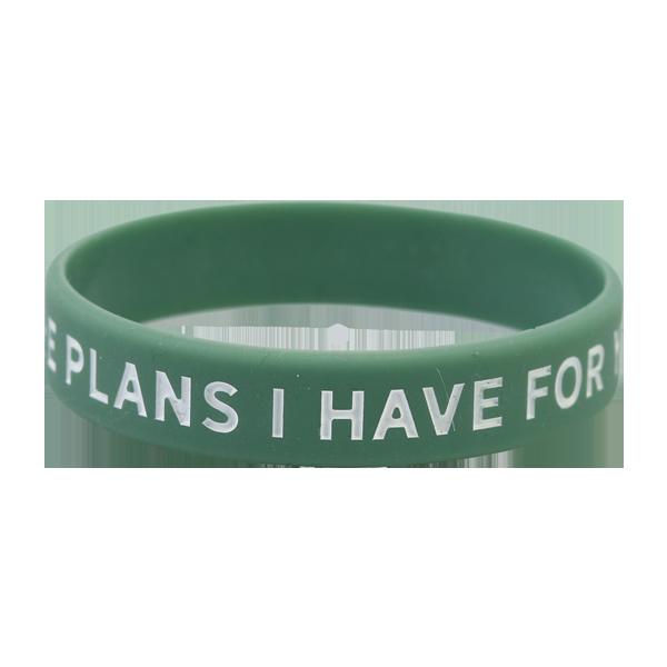 Armband - Silikon tonår - I know the plans I have -  grön