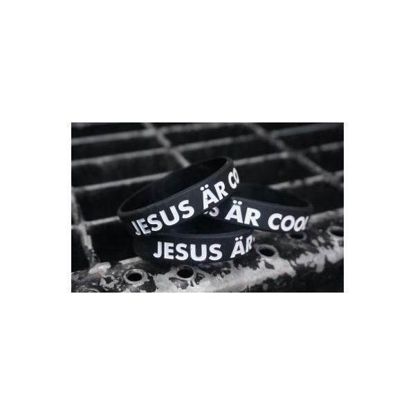 Armband - Silikon barnstrl - Jesus är cool - Svart