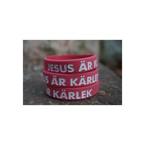 Armband - Silikon barnstrl - Jesus är kärlek - Rosa