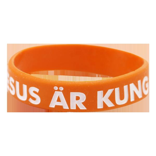 Armband - Silikon barnstrl - Jesus är kung - Orange