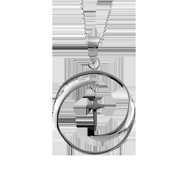 Halssmycke - Kors i cirkel - Silverplätering - 20 mm