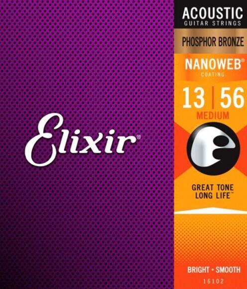 Elixir 16102 - 13-56, NANOWEB Phosphor Bronze