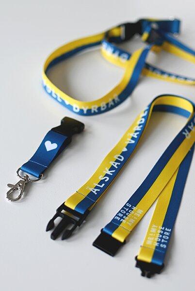 Nyckelband - Älskad, värdefull, dyrbar - blå/gul