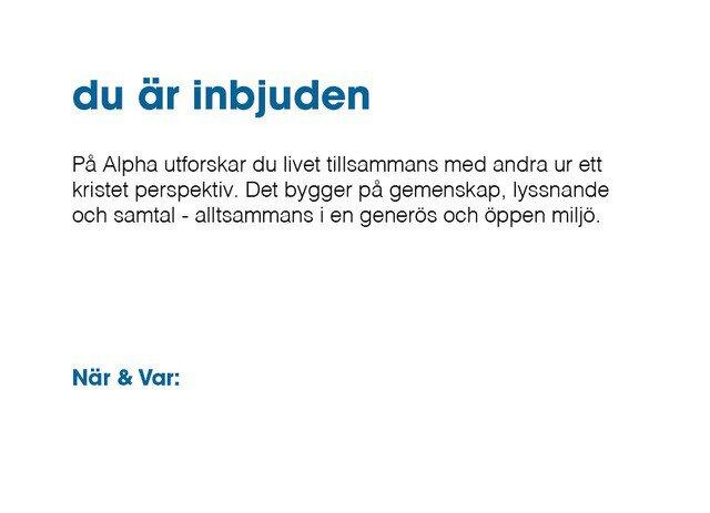 Alpha - Inbjudan - Blå - 50-pack