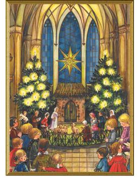 Julkort - Dubbelt med kuvert -Kyrka/krubba